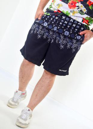 Tommy hilfiger тёмно-синие шорты для плавания с принтом