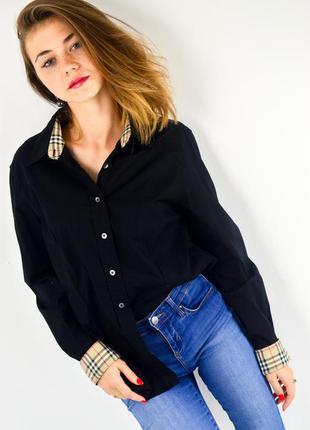 Burberry чёрная хлопковая рубашка с клетчатыми элементами