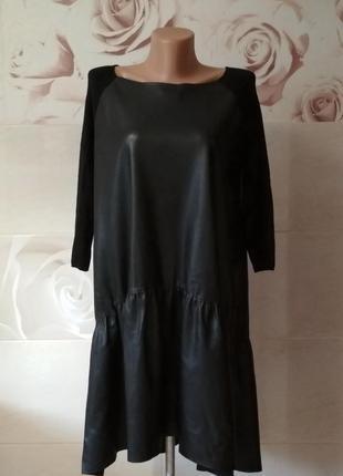 Кожаное платье оверсайз с трикотажным рукавом zara knit