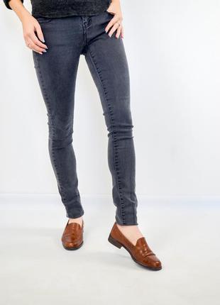Denim co темно-серые зауженные джинсы, штаны на средней посадк...