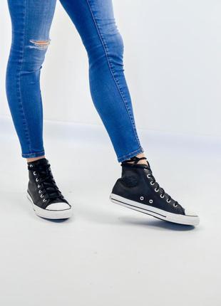Converse all star черные высокие кожаные кроссовки, кеды 36 ( ...