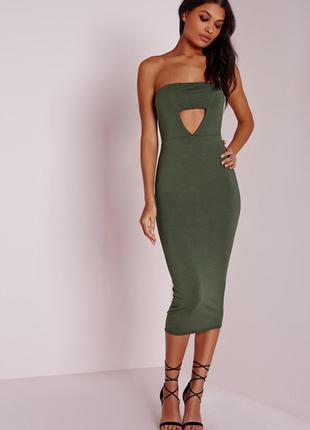 Missguided новое миди платье - бандо цвета хаки по фигуре с вы...