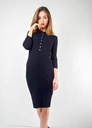 Zara черное облегающее миди платье поло в рубчик с рукавом 3\4...
