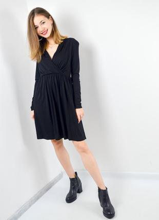 H&m черное платье миди с запахом и длинным рукавом, короткое, ...