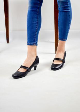 New look черные кожаные туфли на среднем каблуке с ремешком 37...