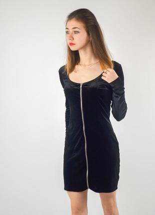 Divided by h&m велюровое мини платье с акцентной молнией, барх...