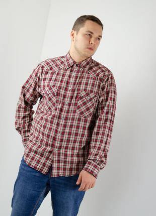 Levi strauss красно-бежевая клетчатая приталенная рубашка в ст...