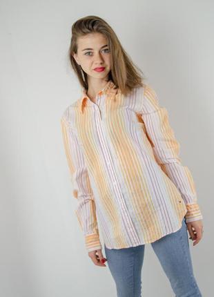 Tommy hilfiger оригинальная рубашка в полоску с длинным рукаво...