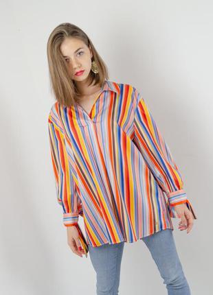 Яркая полосатая блуза с рукавами 3\4 на завязках в полоску, яс...