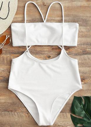Эксклюзивный белый раздельный купальник бандо с плавками с зав...