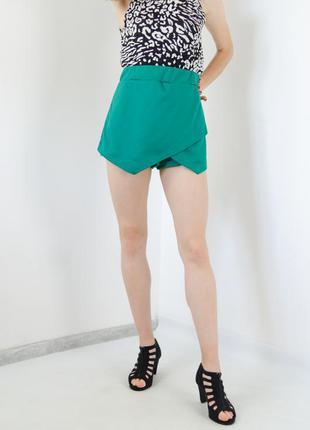 Boohoo трендовая зеленая юбка-шорты с запахом спереди, на запа...