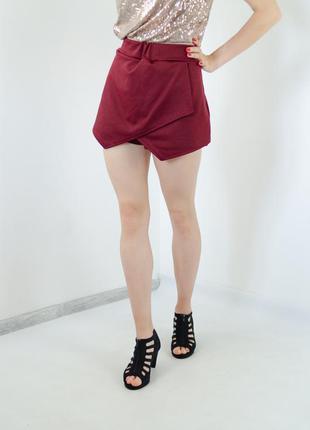 Boohoo трендовые бордовые шорты-юбка с запахом спереди, на зап...