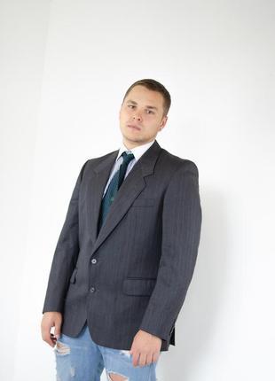 Christian dior серый шерстяной пиджак в мелкую полоску