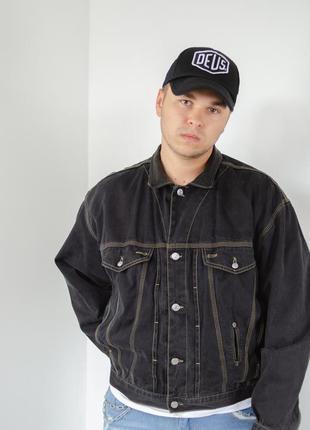 Diesel джинсовая винтажная куртка с кожаным воротником