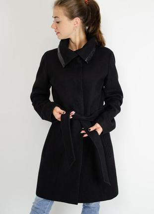 Just female преимум черное пальто из шерсти с высоким воротом-...