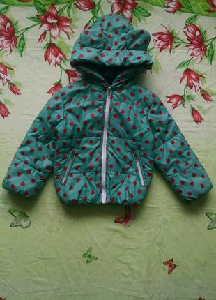 Демисезонная куртка с ушками для девочки 3-4 года