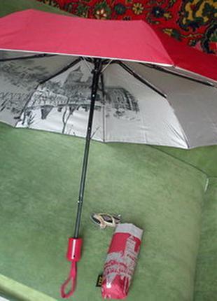 Зонт полуавтомат с рисунком внутри.