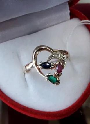 Золотое кольцо с сапфиром рубином изумрудом и бриллиантом