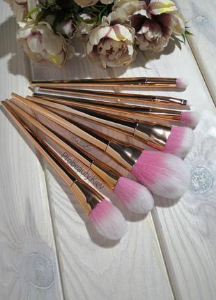 Кисти для макияжа набор кистей 7 шт для макияжа gold/rose prob...