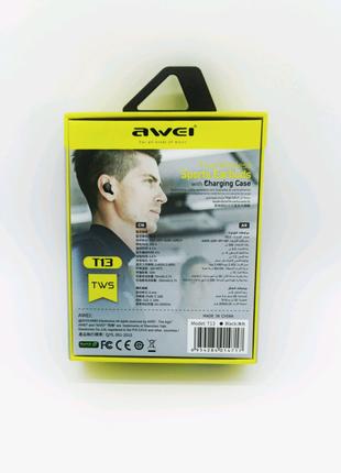 Беспроводные наушники Awei t13 TWS Bluetooth кейс зарядки новинка