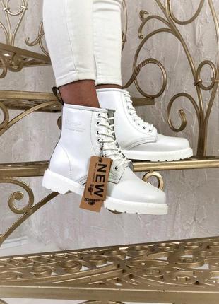 Белоснежные женские осенние кожаные ботинки/ сапоги dr. marten...