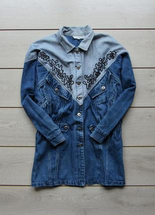 Удлиненная джинсовка джинсовая куртка на пуговицах витнаж от t...