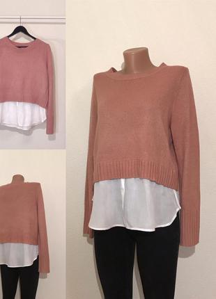 Последняя цена! 120 гривен!  свитер джемпер пудра с рубашкой h...