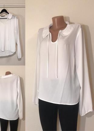 Классная белая блуза на завязках new look 16/44