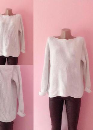 Белый свитер джемпер вязаный m&s, размер 52-54