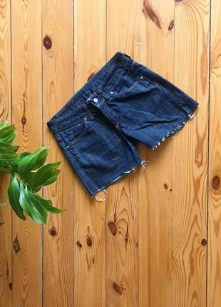 Тёмно-синие короткие шорты шортики джинс необработанный низ mo...