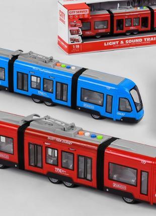 Игрушечный Трамвай WY 930 AB с подсветкой, звуком, двигается п...