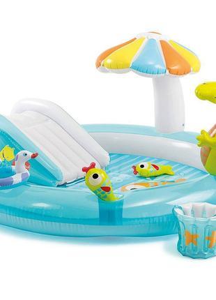 Детский надувной бассейн центр игровой с горкой Intex 57165 «К...