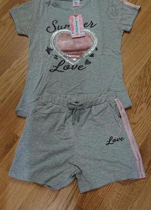 Набор летний футболка + шорты для девочек