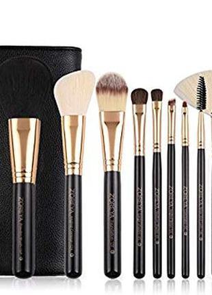 Набор кистей для макияжа  zoreya 10 piece brush set - black