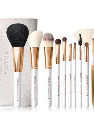 Набор кистей для макияжа  zoreya 10 piece brush set - white