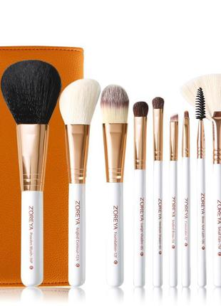 Набор кистей для макияжа  zoreya 10 piece brush set - yellow