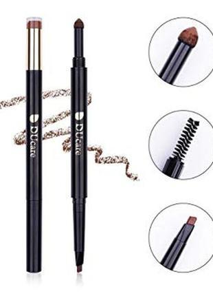 Карандаш для бровей 3-в-1 ducare 3-in-1 brow pencil, powder an...