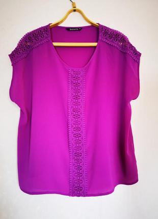 Скидки на весь товар красивая пурпурная блуза с кружевом батал...