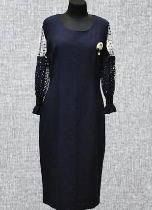 Женское платье с ажурными рукавами