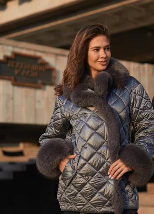 Стильная зимняя стёганая куртка с меховым воротником серая к-160х