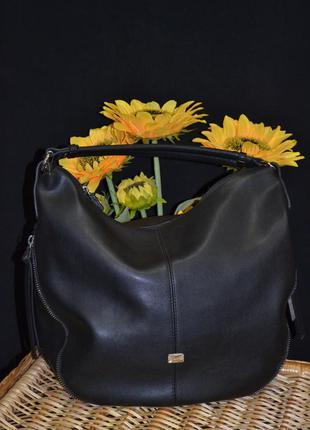 Мягкая кожаная круглая сумка
