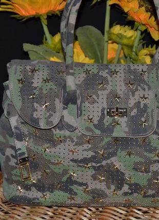 Тканевая сумка защитного цвета