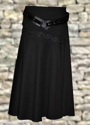 Демисезонная чёрная юбка миди