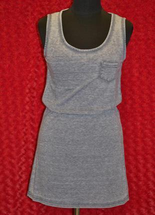 Серое летнее платье майка