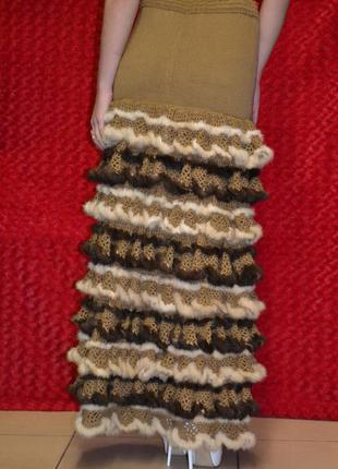 Тёплая юбка с мехом