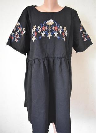 Новое стильное джинсовое платье большого размера с вышивкой si...