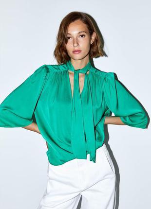 Шифоновая полупрозрачная блуза блузка изумрудная зеленая напів...