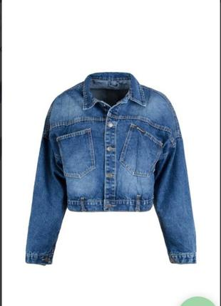 Стильная джинсовая куртка пиджак джинсовка с надписью на спине...