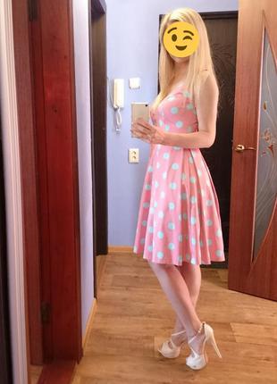 Распродажа! платье в горох с пышной юбкой - фатин
