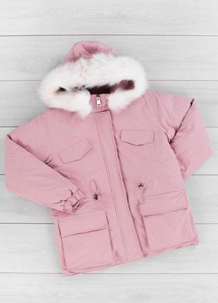 Стильная розовая пудра зимняя куртка короткая с мехом капюшоно...